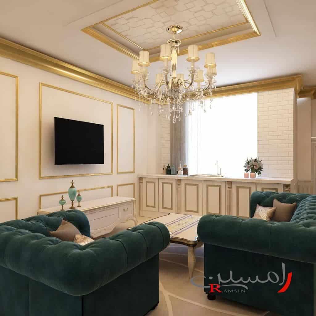 اتاق-نشیمن-با-دیوار-قاب-بندی-شده-با-ورقه-استیل