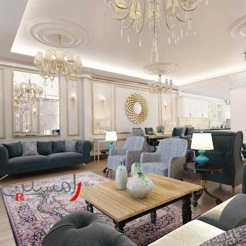 اتاق-نشیمن-رنگ-طوسی-دیوار-اینه-کاری-و-سقف-نور-کاری-شده