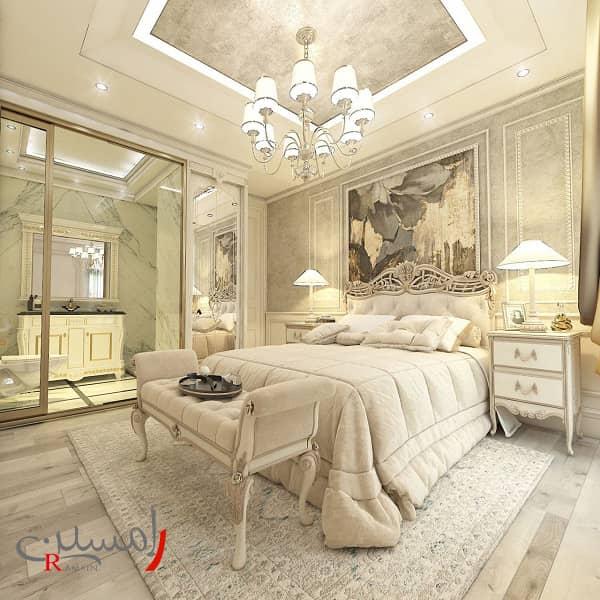 دکوراسیون اتاق خواب زیبا کرمی رنگ با دیوارهای پتینه شده و نورپردازی سقف