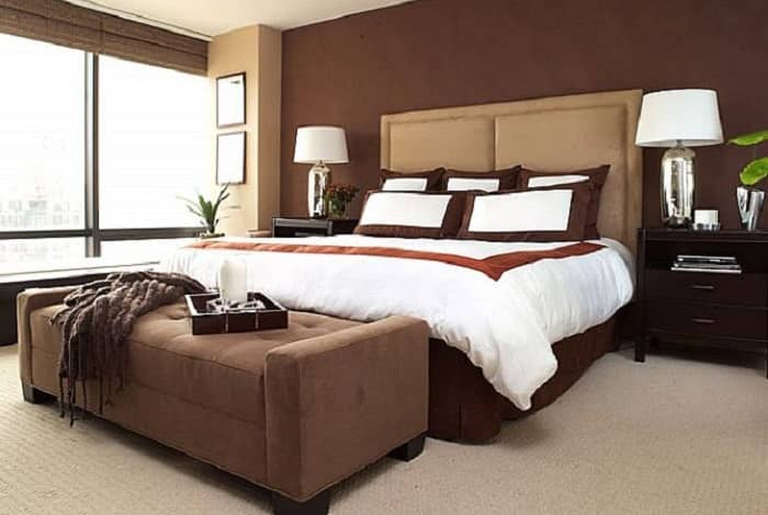 رنگ اتاق خواب قهوه ای