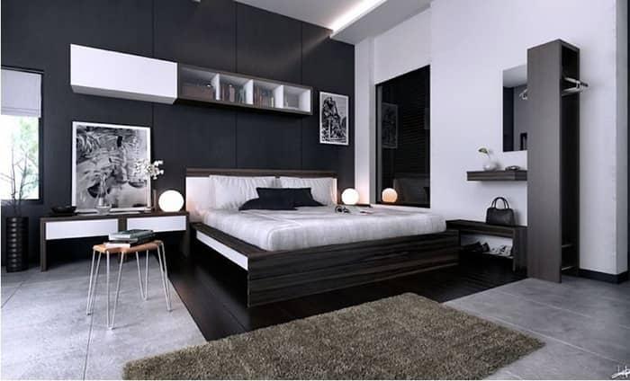 رنگ اتاق خواب مشکی سفید