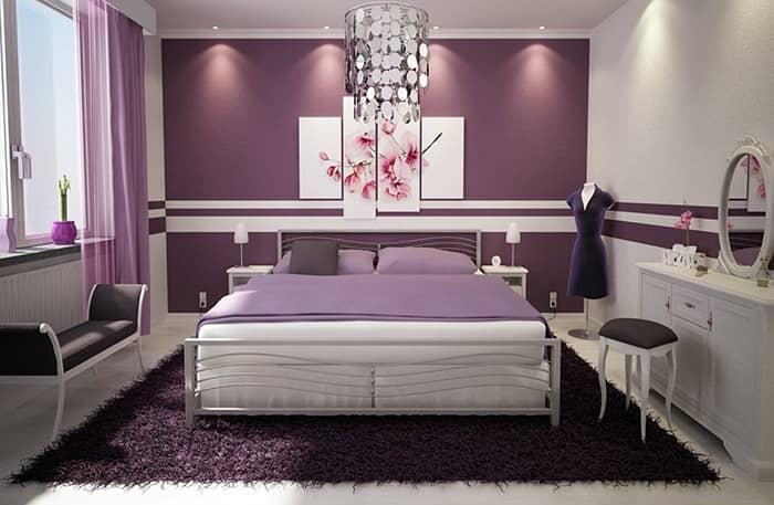 رنگ اتاق خواب بنفش تیره