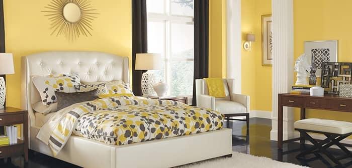 رنگ اتاق خواب زرد کمرنگ