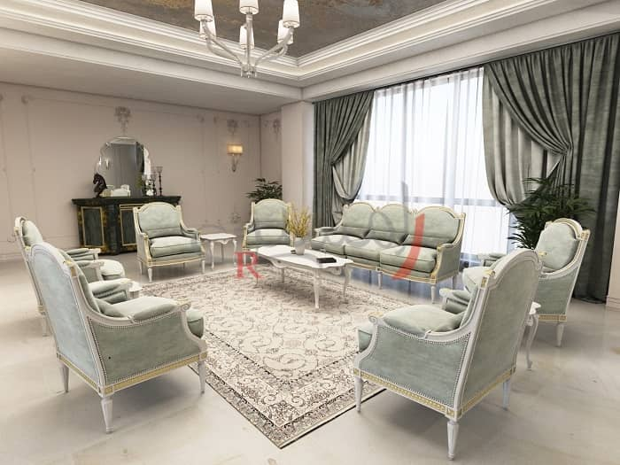 هماهنگی رنگ مبلمان با فرش و پرده ها در دکوراسیون نشیمن