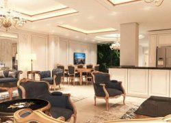 طراحی و اجرای دکوراسیون داخلی نئوکلاسیک آپارتمان سه خوابه ۲۰۰ متری