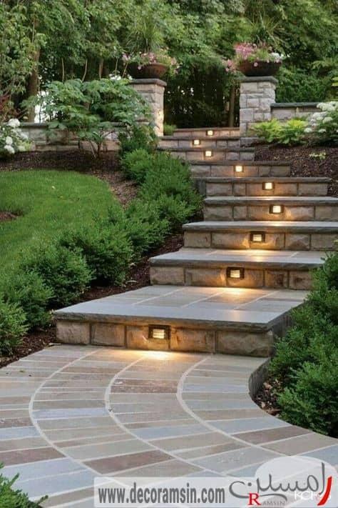 نورپردازی-مسیر-حرکت-ویلا-با-پله-های-سنگی