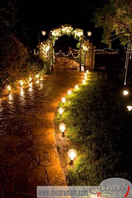 نورپردازی-مسیر-حرکت-ویلا-با-لامپ-های-زرد