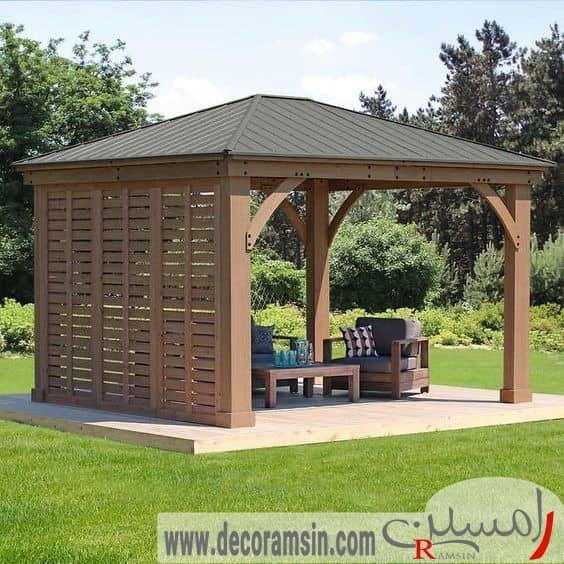 آلاچیق-چوبی-یکطرف-بسته-مورد-استفاده-در-محوطه-سازی-ویلا
