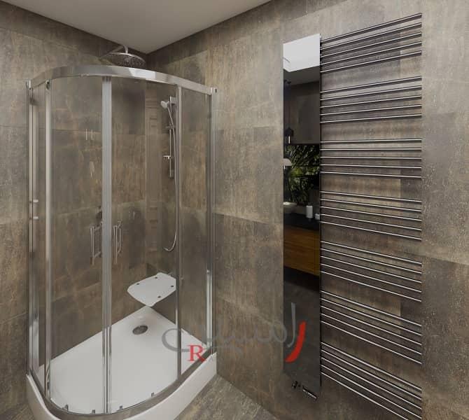 دکوراسیون حمام با کابین دوش مدرن سفید و حوله خشک کن بزرگ و زیبا دکوراتیو_new