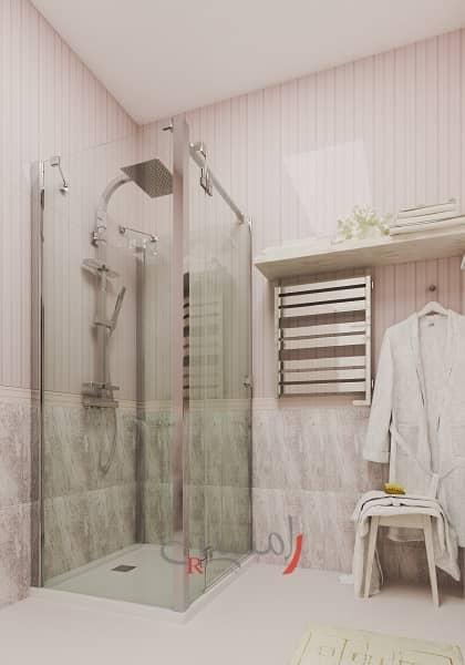 دکوراسیون حمام دختر با کابین دوش شیشه ای و حوله خشک کن و دیوارها به رنگ صورتی_new