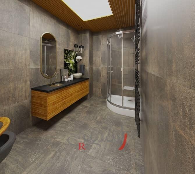 دکوراسیون سرویس بهداشتی لوکس با آینه و روشویی گرد و سقف چوبی با نورپردازی سقف و کابین دوش_new