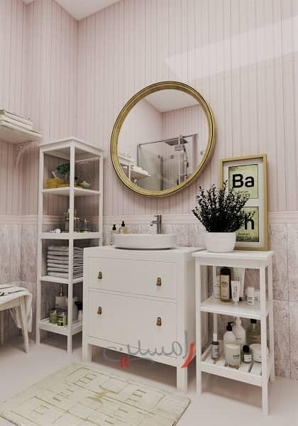 سرویس بهداشتی اتاق خواب دختر با آینه گرد و میز آرایش سفید و قفسه بندی برای وسایل_new