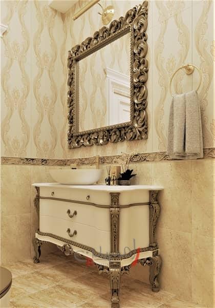 طراحی دکوراسیون داخلی سرویس بهداشتی با آینه و کنسول طلایی و کاشیکاری طلایی به رنگ طلایی_new