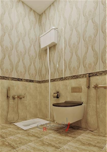طراحی دکوراسیون داخلی سرویس بهداشتی لوکس به رنگ طلایی سرویس ایرانی و وال هنگ با شیر آلات طلایی_new