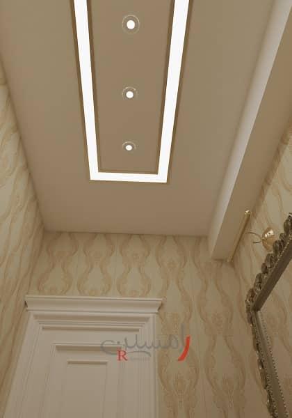 طراحی دکوراسیون داخلی سقف سرویس بهداشتی با نورپردازی خطی_new