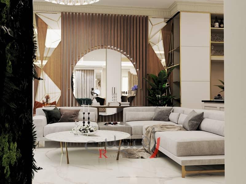 طراحی دکوراسیون داخلی منزل مدرن با مبلمان کرمی و چوب ترمووود و آینه گرد با قاب بندی طلایی روی دیوار_new