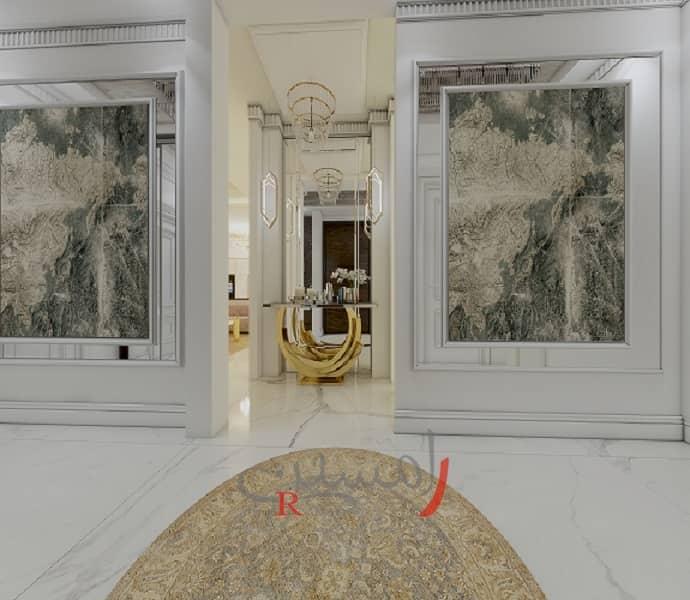 طراحی دکوراسیون داخلی منزل مدرن - ورودی اتاق خواب - دیوارهای پتینه کاری شده سالن پذیرایی_new