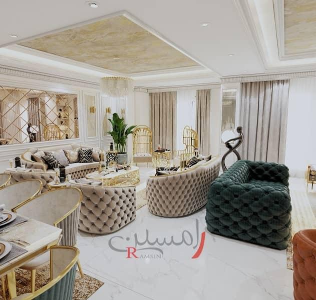 طراحی دکوراسیون داخلی منزل - نشیمن لوکس و زیبا به رنگ طلایی با پتینه کاری و مبلمان کرم کف سرامیک_new