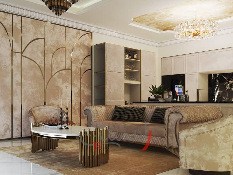 کوراسیون نشیمن زیبا و مدرن با میز چوبی و دیوار ها و سقف پتینه کاری شده با مبلمان خاکستری_new