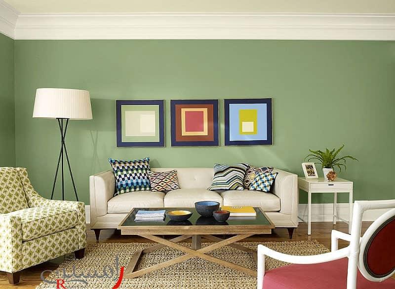 رنگ دیوار سبز دکوراسیون پذیرایی مدرن