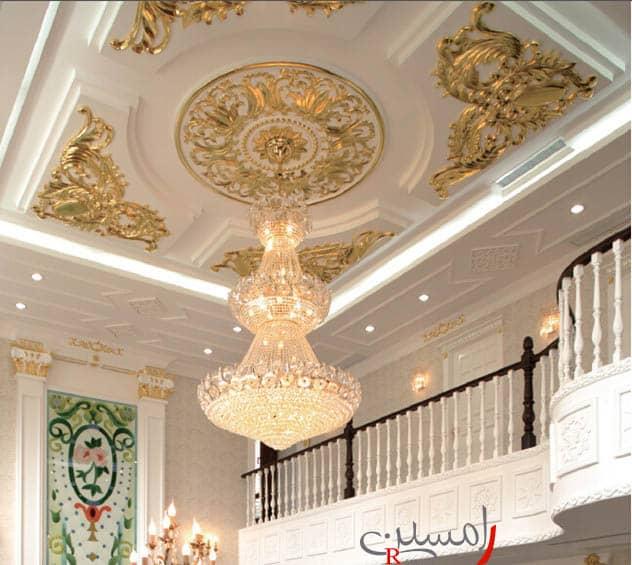 سقف گچ کاری شده سبک کلاسیک