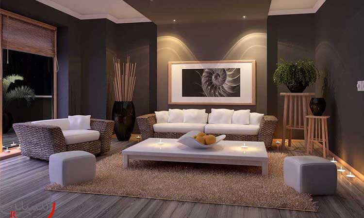 طراحی داخلی رنگ دیوار تیره و مبل سفید حصیری