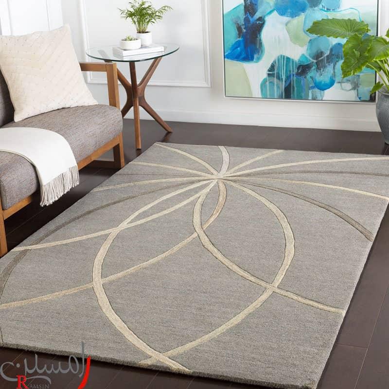 فرش مدرن رنگ طوسی