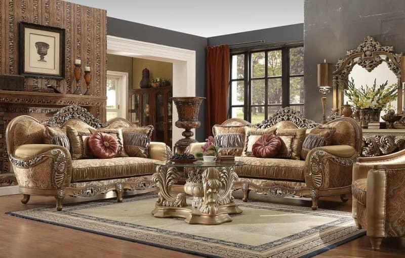 مبلمان سبک کلاسیک رنگ نباتی با کاغذ دیواری شکلاتی