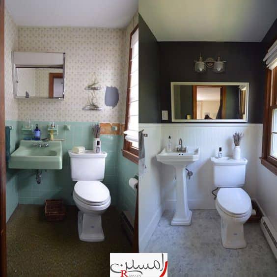 بازسازی و نوسازی ویلا سرویس بهداشتی و حمام.